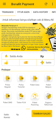 Tampilan Aplikasi Bonafit Payment