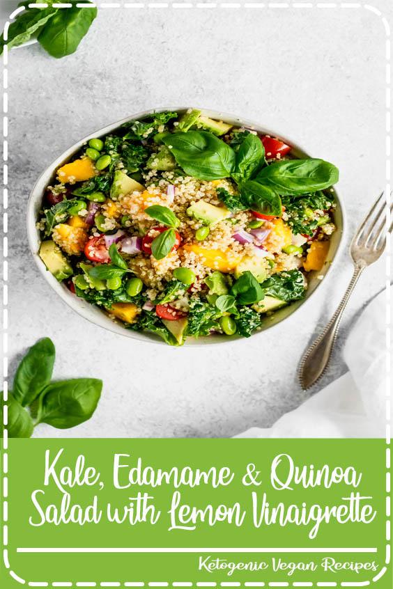 quinoa salad with sweet lemon vinaigrette Kale, Edamame & Quinoa Salad with Lemon Vinaigrette