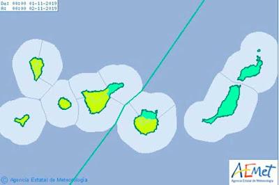 Se prologa hasta el viernes 1 de noviembre el aviso por viento en Gran Canaria e islas occidentales