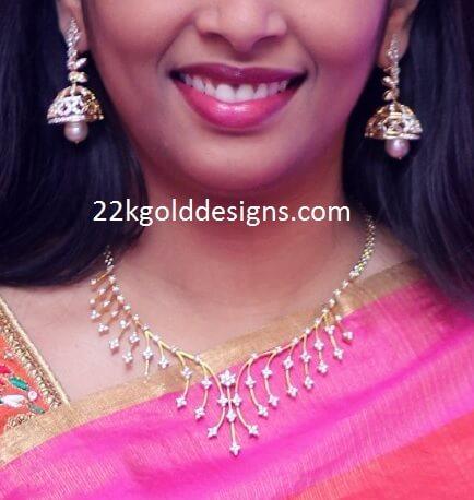 Simple Stylish Diamond Necklace with Buttalu