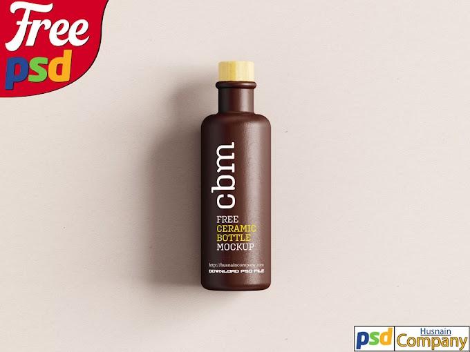 Download Free Clean Ceramic Bottle PSD Mockup #2