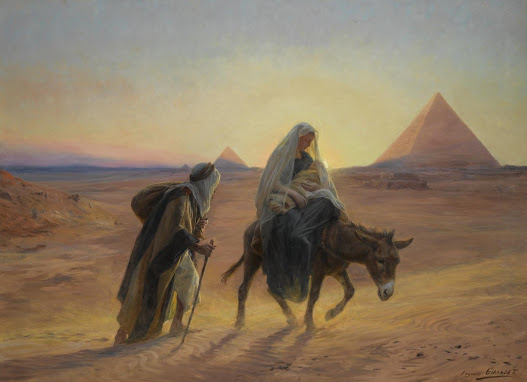 Lady Mary, baby Jesus and Joseph arriving Egypt's Giza