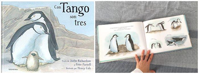Cuento, libro infantil Con Tango son tres, diversidad familiar