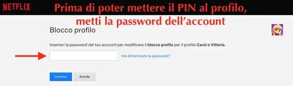 inserimento password account netflix prima di mettere codice pin al profilo personale