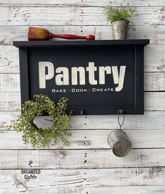 A Thrifted, Farmhouse Style, Chalkboard/Shelf Makeover With Paint & Stencils
