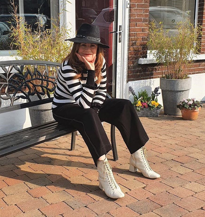 Over the Hilda blogger Hilda wears black and white with a jaunty hat and striped jumper for the challenge Spring Sweaters set for the Style Not Age Challenge