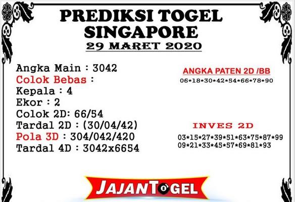 Bocoran Togel Singapura Minggu 29 Maret 2020 - Prediksi Jajan Togel