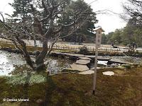 Slab bridge over stream - Kenroku-en Garden, Kanazawa, Japan