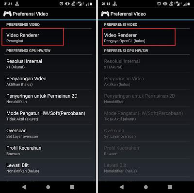 Pilih dan ubah Video Renderer dari Perangkat menjadi Pengaya OpenGL (halus).