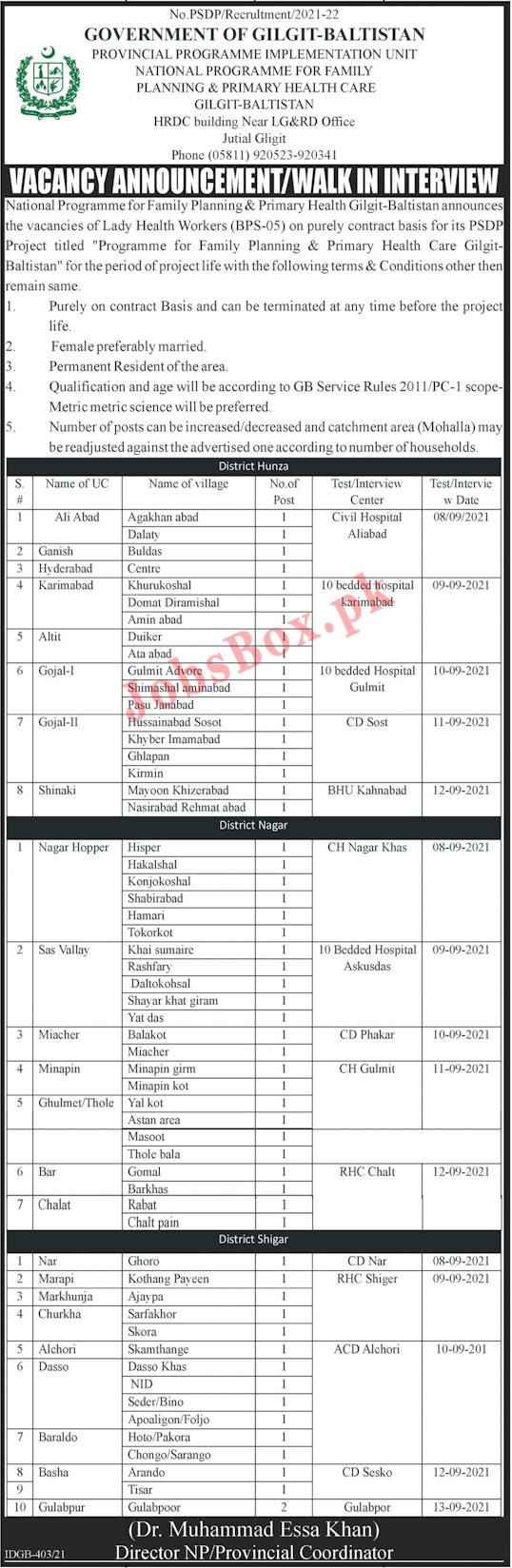 National Program for Family Planning & Health Gilgit Baltistan Jobs 2021