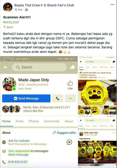 Senarai Penipu Scammer Jual Jam GShock Di Malaysia