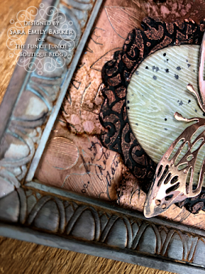 Sara Emily Barker https://sarascloset1.blogspot.com/2020/06/copper-penned-panel.html Mixed Media Panel #timholtz #sizzix #stampersanonymous #ranger 2