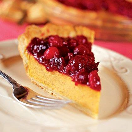 Creamy Pumpkin Pie with Cranberry Topping Recipe