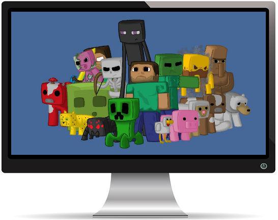 Minecraft Personnages du Jeu Pixels - Fond d'Écran en Full HD