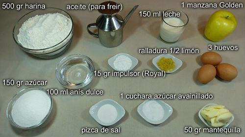 Buñuelos de manzana. Ingredientes