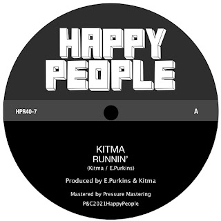 The vinyl single paper label lists the performer, song title, and imprint (Happy People Records)