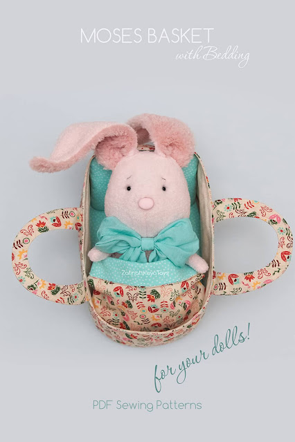 Bunny toy Moses basket sewing patterns