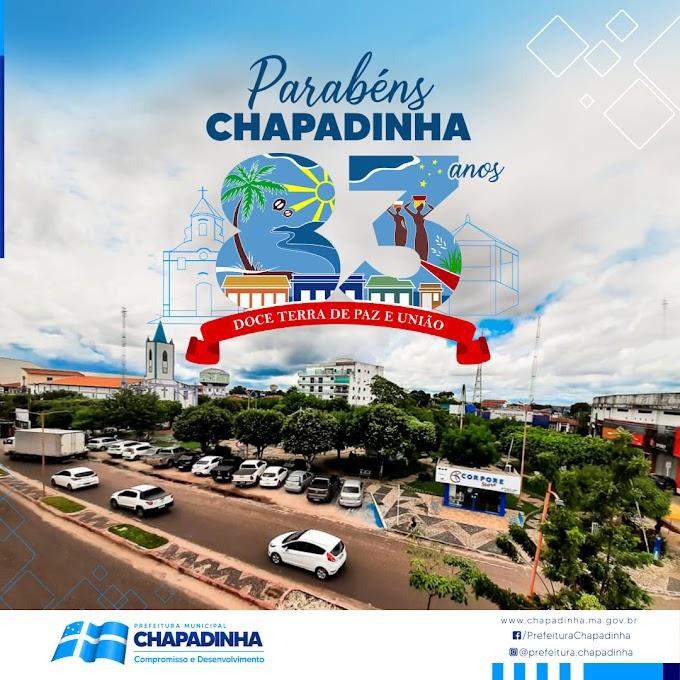 Mensagem da prefeitura de Chapadinha aos 83 Anos de Chapadinha