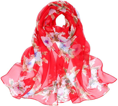 Red Floral Print Chiffon Scarves