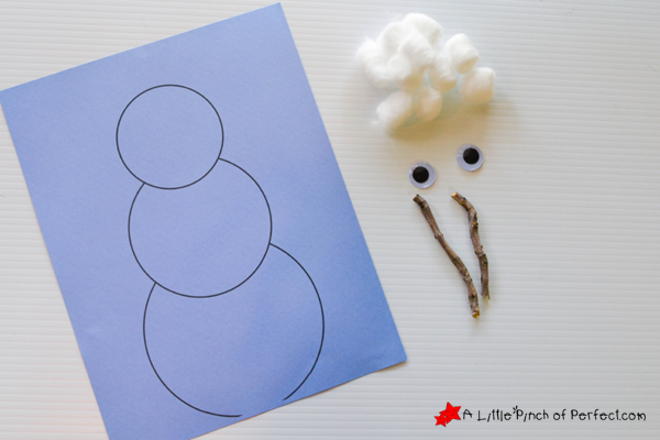 Cotton Ball Snowman Easy Winter Craft For Kids