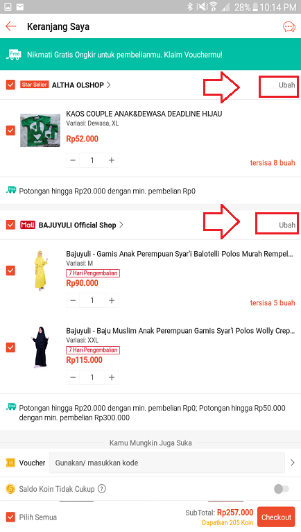 Mengubah Pesanan di Troli/ Keranjang Belanja Aplikasi Shopee.