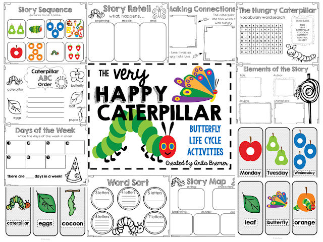 The Very Hungry Caterpillar book study companion activities to go with the book by Eric Carle and Butterfly Life Cycle Unit. Perfect for a spring theme in the classroom! Packed with fun ideas and guided reading literacy activities. Common Core aligned. Grades K-2. #ericcarle #springbooks #bookstudy #bookstudies #guidedreading #veryhungrycaterpillar #butterflies #butterflylifecycle #bookcompanion #bookcompanions #1stgradereading #kindergartenreading #picturebookactivities