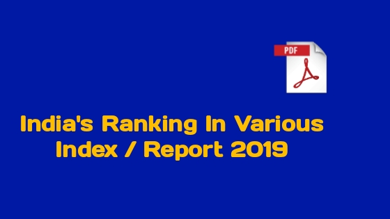India Ranking in Different Indexes 2019 PDF In English