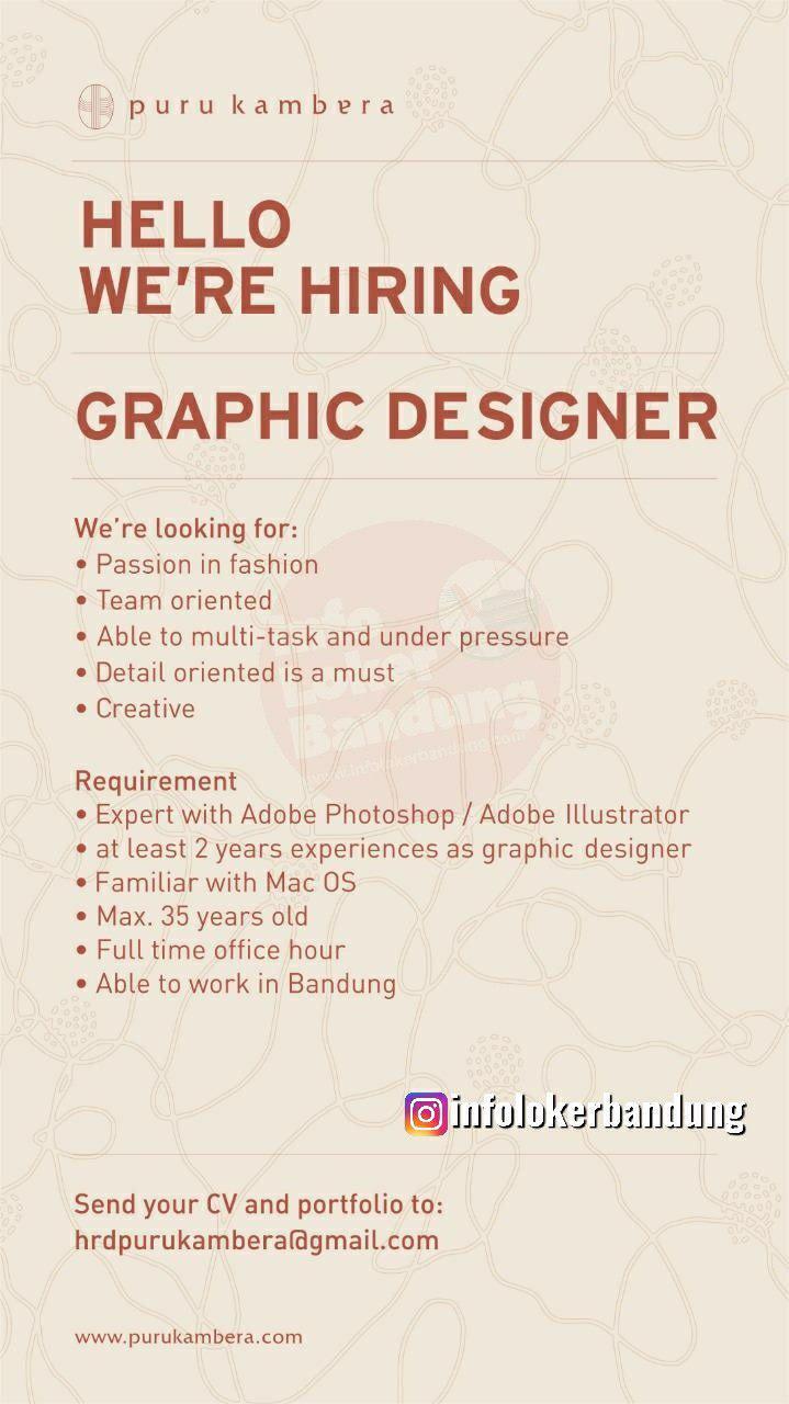 Lowongan Kerja Graphic Designer Puru Kambera Bandung Januari 2020