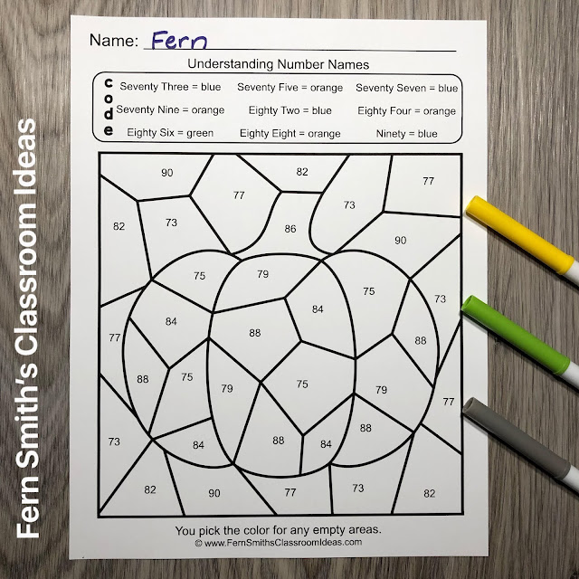 Click Here to Download This 2nd Grade Math Number Names Color By Number Printables Resource For Your Classroom Today!