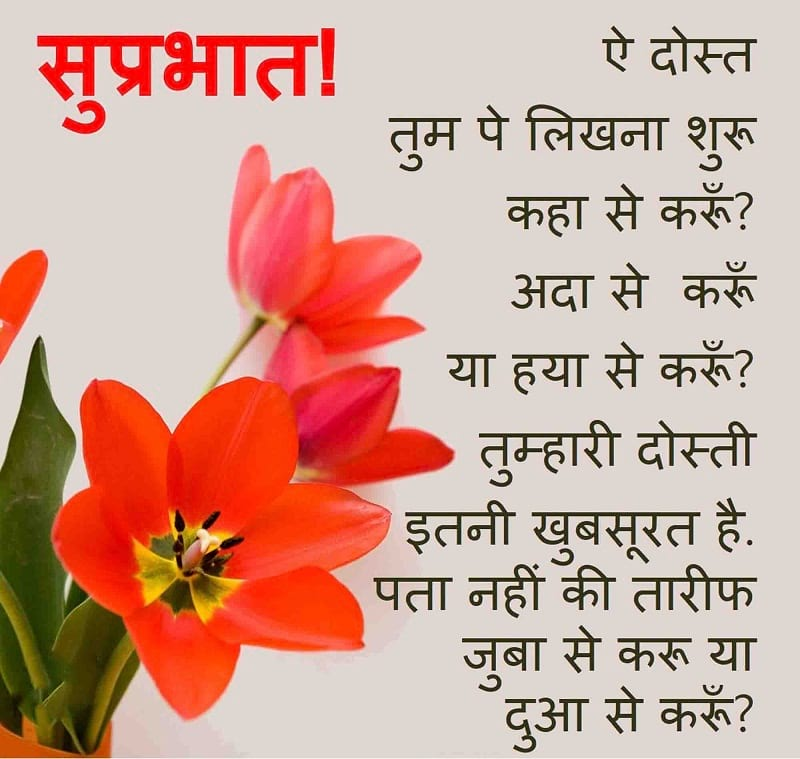 Hindi Good Morning Wishes, Greeting with Flowers for Friends