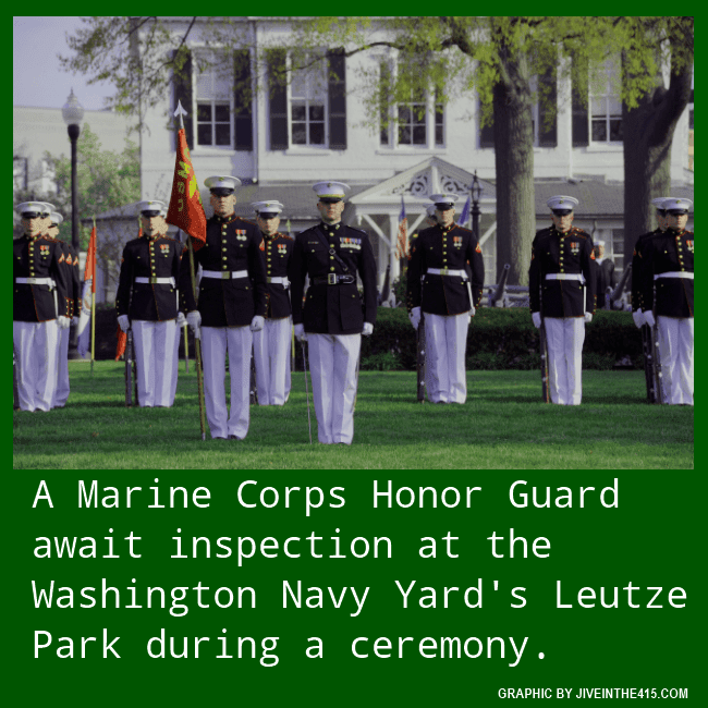 A US Marine Corps honor guard stands at attention in Leutze Park, at the Washington Navy Yard, during a full honors ceremony.