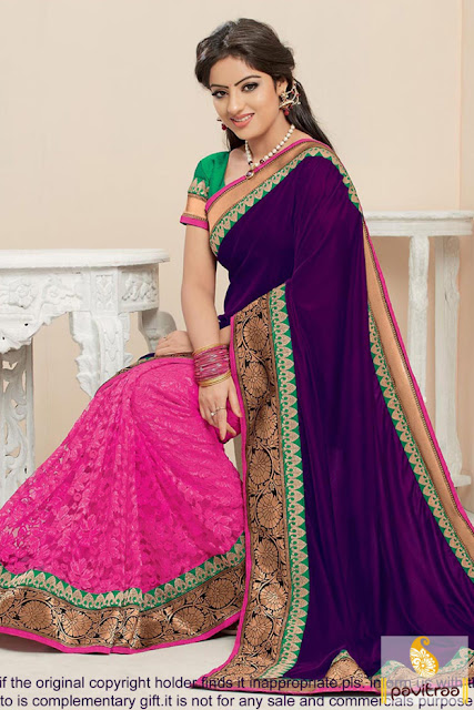 Diwali season purple pink party wear saree bollywood saree online at pavitraa.in