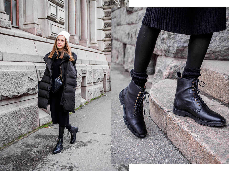 &Other Stories Lace Up Leather Boots in Black