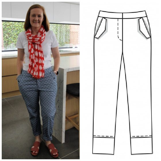 a white lady posing in blue pants, a white tshirt and a red and white scarf, and an image of a sewing pattern for pants