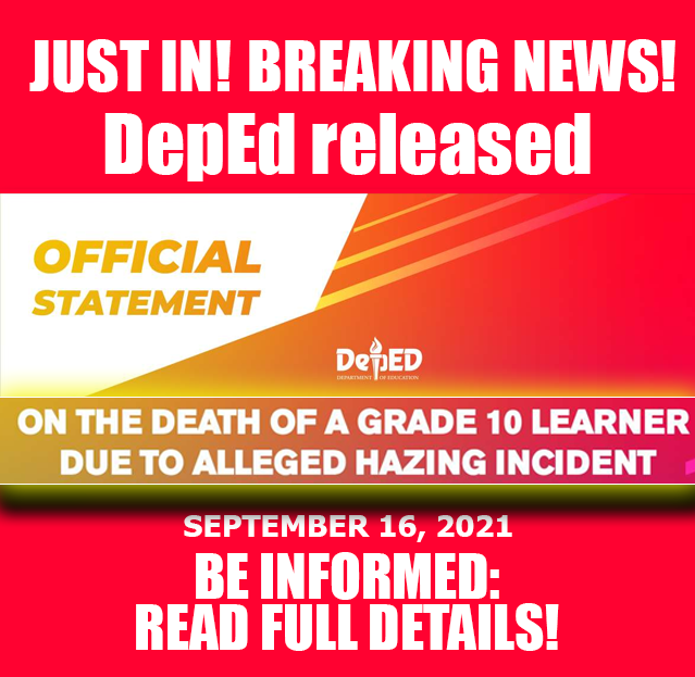 DepEd released official statement on the Death of a Grade 10 Learner due to Alleged Hazing Incident | September 16