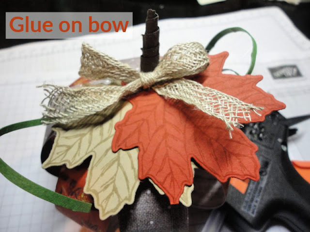 Glue on pumpkin vines and bow - Nicole Steele The Joyful Stamper