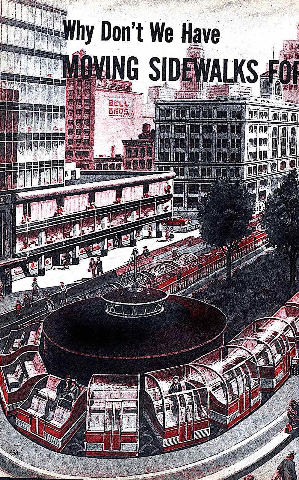 a Frank Tinsley illustration of moving sidewalks