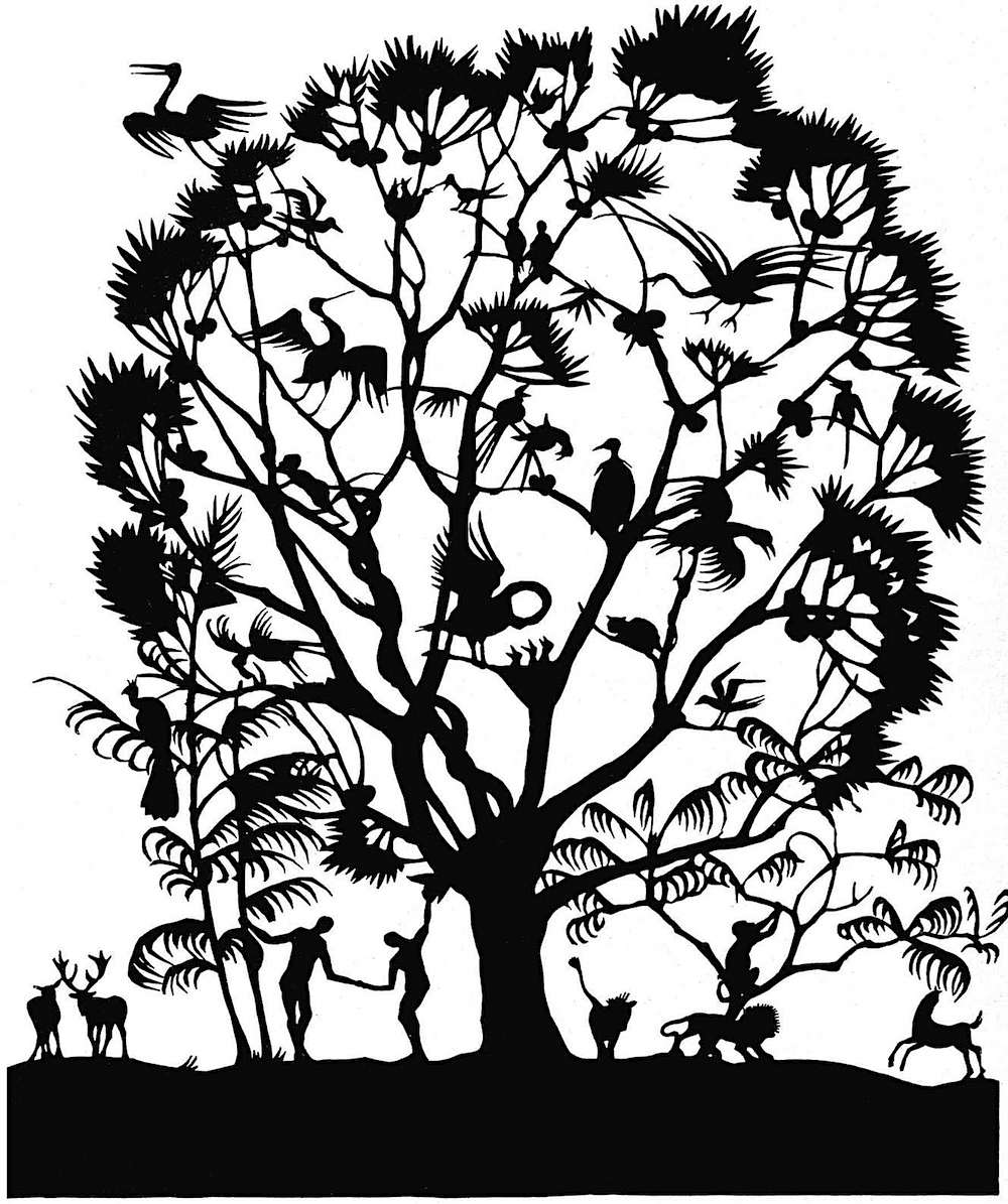 A 1921 papercut silhouette, the tree of life