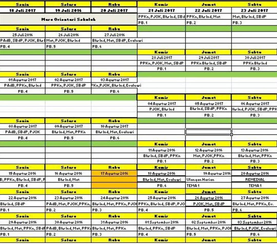 Jadwal Pelajaran K13 Sd Kelas 1 2 3 4 5 Dan 6 Tahun Pelajaran 2019 2020