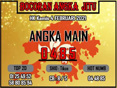 Bocoran HK 2D Kamis 4 Februari 2021