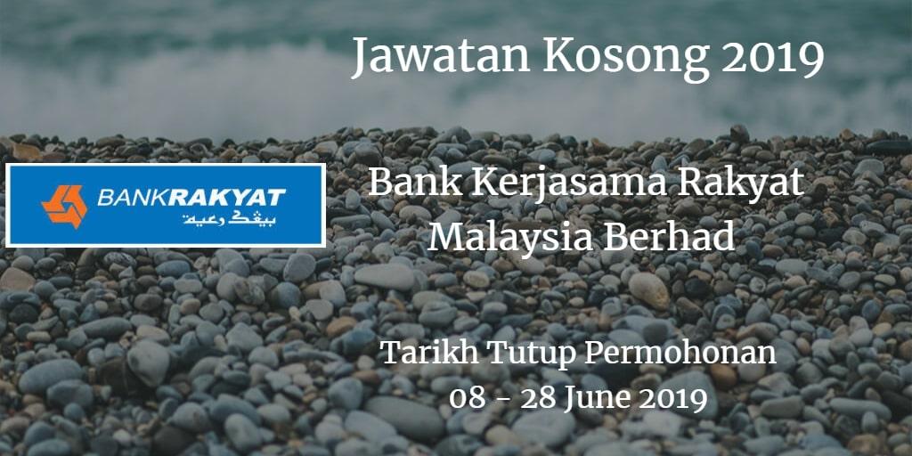 Jawatan Kosong Bank Kerjasama Rakyat Malaysia Berhad 08 - 28 June 2019