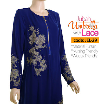 Jubah Umbrella Lace JEL-29 Blue Depan 7