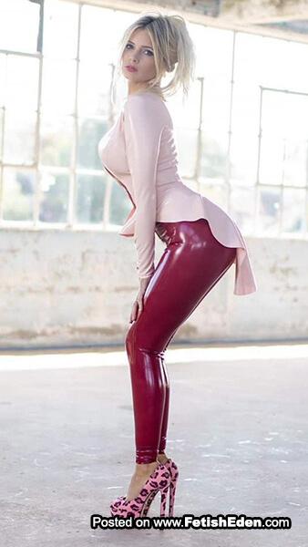 Burgundy latex leggings beautiful blonde with light pink latex midi-dress