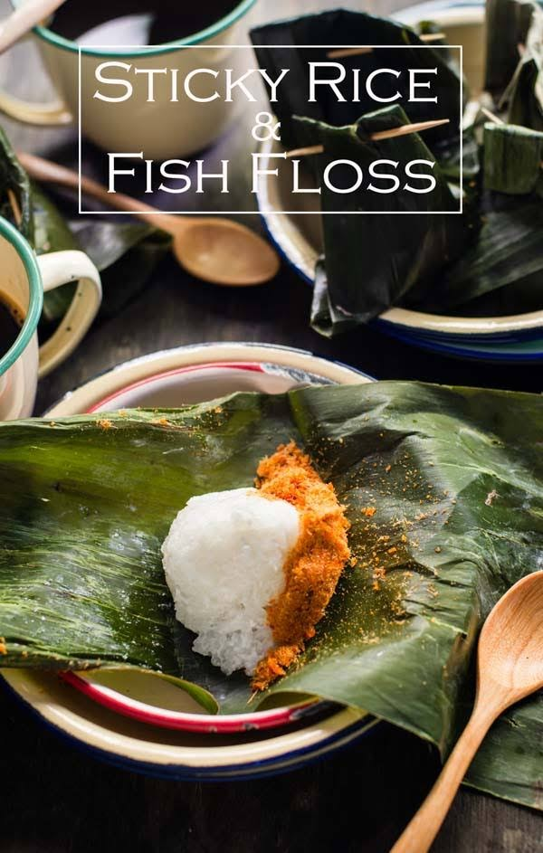 Creamy sticky rice serve with spicy fish floss wrapped in banana leaves, also known as pulut sambal ikan to Malaysians. Serve as finger food for breakfast and teatime.
