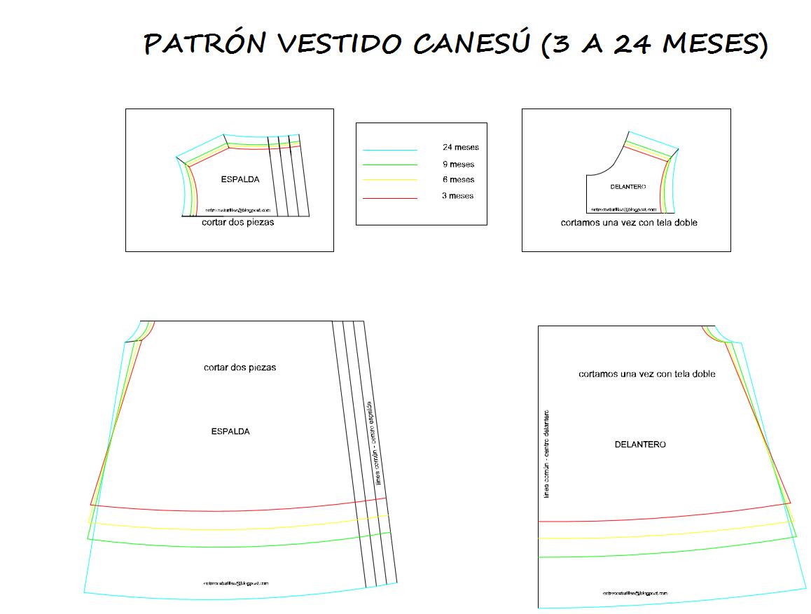 f7ba3b017 PATRÓN VESTIDO CANESU BEBE DE 3 A 24 MESES