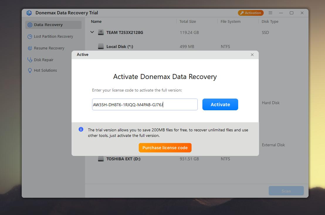 تفعيل مجاني دائم لبرنامج استعادة الملفات المحذوفة DoneMax Data Recovery