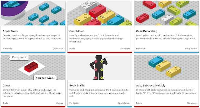 A screengrab of the official website page showing previews of 6 of the available downloadable teaching activities to accompany LEGO Braille Bricks.
