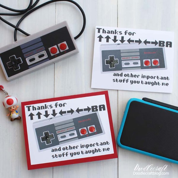 Make a handmade card with this free printable featuring Nintendo controller and the Konami code, perfect for your mentor, father or friend.