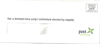 Just Energy Unlimited electricity offer envelope
