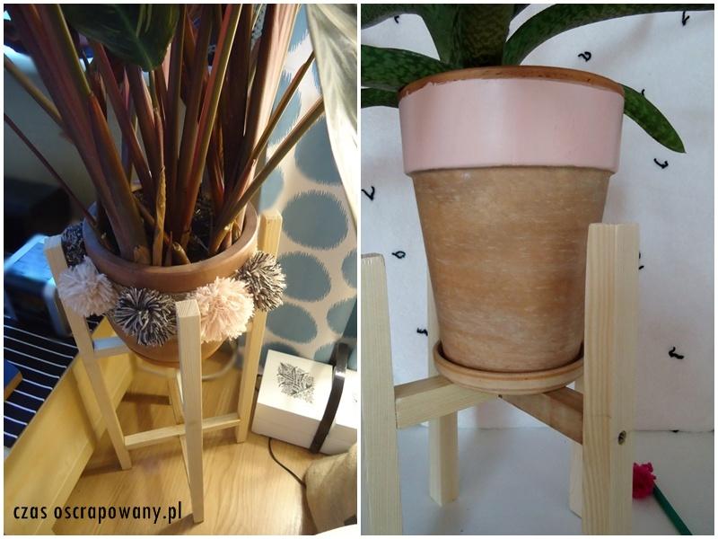 stojak na doniczkę z kantówek, drewniany kwietnik